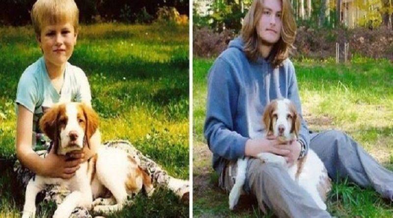 Fotos de pessoas que cresceram juntas com seu cachorro