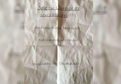 Donos de cães recebem bilhete com ameaça de 'Dr. Chumbinho'